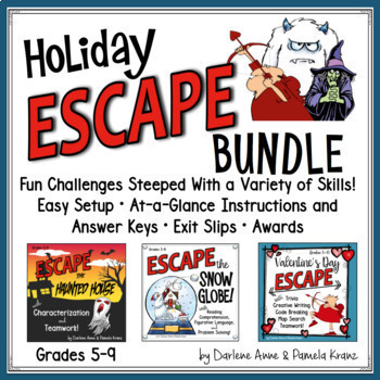 ESCAPE ROOM: VALENTINE'S DAY, HALLOWEEN, WINTER HOLIDAY BUNDLE