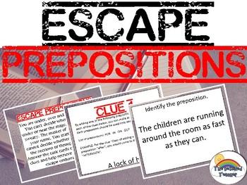 ESCAPE Prepositions (Grammar) Task Card Test Prep Review Game Activity