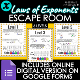 ESCAPE ROOM ACTIVITY - Laws of Exponents - DISTANCE LEARNING