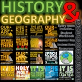 20 ESCAPE ROOM BUNDLE: Geography and History, Workbook, Answer Key, Resources