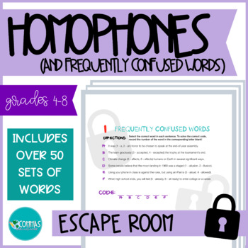 ESCAPE ROOM - Homophones & Frequently Confused Words (no technology needed!)