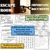 ESCAPE ROOM: IMPORTANT DOCUMENTS OF AMERICAN HISTORY and GLOSSARY