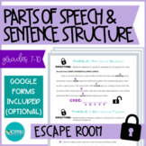 ESCAPE ROOM - Parts of Speech & Sentence Structure (technology optional)