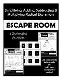 ESCAPE ROOM: Simplifying, Adding, Subtracting & Multiplying Radical Expressions