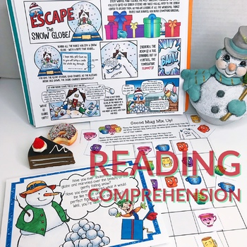 ESCAPE ROOM WINTER: READING COMPREHENSION, FIGURATIVE LANGUAGE, & PUZZLES