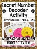 ESCAPE Secret Number Decoder Activity on Solving Multi-Ste
