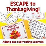 ESCAPE to Thanksgiving- Adding & Subtracting Decimals Escape Room