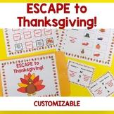 ESCAPE to Thanksgiving- CUSTOMIZABLE Escape Room