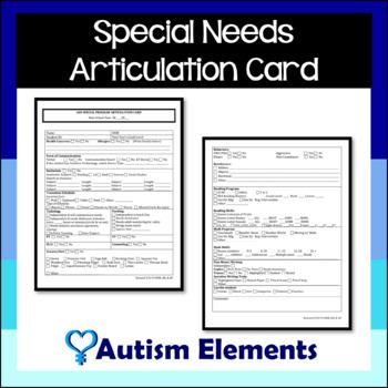 ESE/ ASD Elementary Articulation Card
