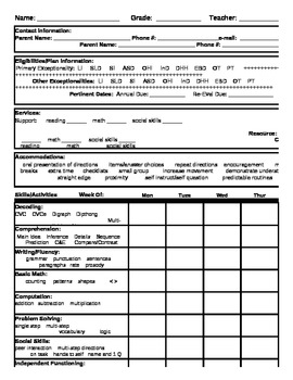 ESE Student Record Form