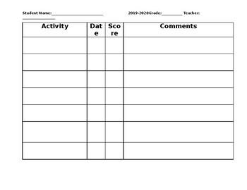ESE academic IEP goal data form
