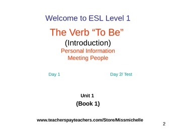 ESL 1 intro to the verb TO BE