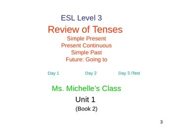ESL 3 Week 1 Lesson (day 2)