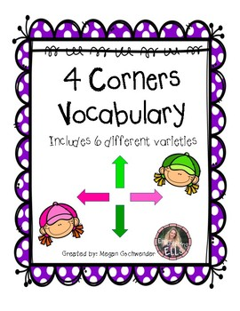 ESL- 4 Corners Vocabulary (6 Varieties)