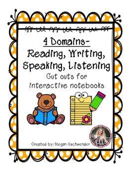 ESL- 4 Domains (Reading, Writing, Speaking, Listening) Cut Outs