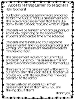 ESL Access Testing Letters (to Teachers and to Families)