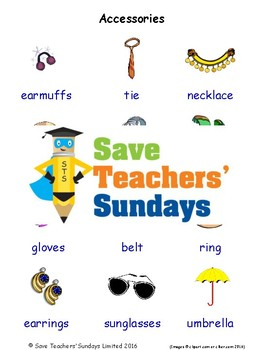 ESL Accessories Worksheets, Games, Activities and Flash Cards (with audio)
