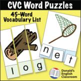 ESL Activities - CVC Puzzles - 45 Word Set