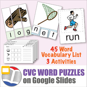 ESL Activities - Digital CVC Puzzles - 45 Word Set