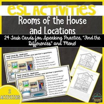 ESL Activities: Rooms in the House and Prepositions of Location
