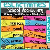 ESL Back to School Classroom Vocabulary