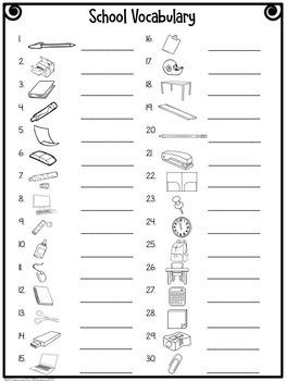 ESL Classroom Vocabulary