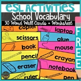 ESL Back to School Classroom Vocabulary