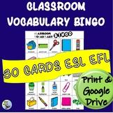 ESL Newcomer Activity:  Classroom Vocabulary BINGO