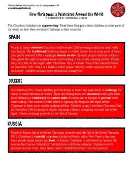 ESL Activity: How Christmas is Celebrated Around the World: B1/Intermediate ELLs