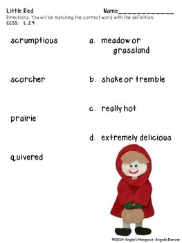 ESL Activity for Vocabulary Development fo Little Red
