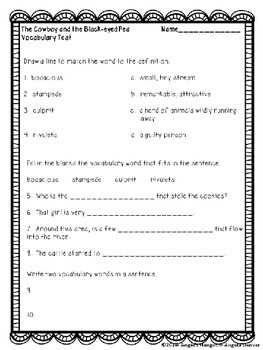 ESL Activity for Vocabulary Development for The Cowboy and the Black-eyed Pea