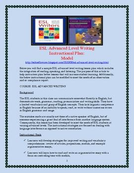 ESL Advanced Level Writing  Instructional Plan, Sample