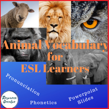 ESL Animal Photos Vocabulary interactive PPT presentation with worksheets