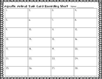 ESL Aquatic Animal Task Cards