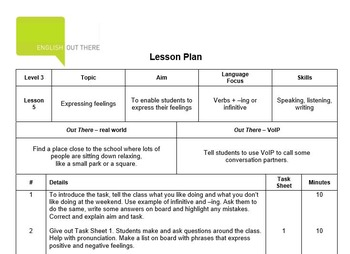 ESL B1 Lesson Plan and Worksheets - Verbs + -ing/infinitive, adjectives feeling