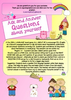 ESL EFL ORAL LANGUAGE BOARD GAME - ASK AND ANSWER QUESTIONS