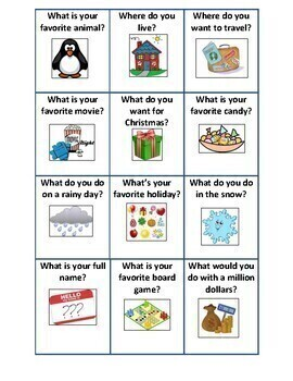 ESL Back to School Conversation Cards