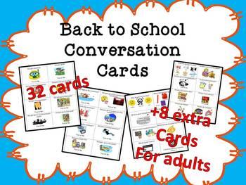ESL Back to School Conversation Cards (high beginning)