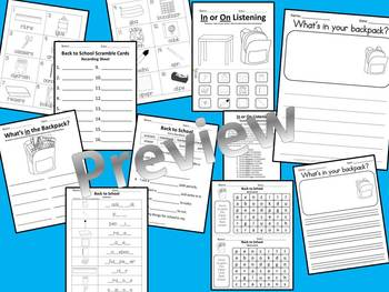 ESL Back to School Vocabulary PowerPoint and Printable Activities