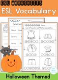 ESL Basic Vocabulary Halloween Themed