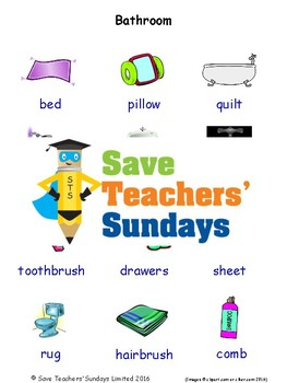ESL Bathroom Worksheets, Games, Activities and Flash Cards (with audio)