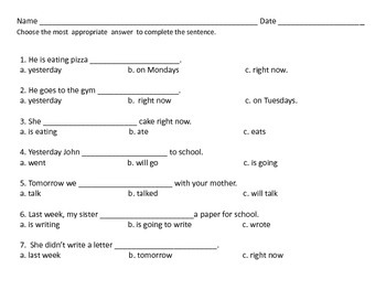 ESL Beginner Writing Lesson: Verb and Time Agreement