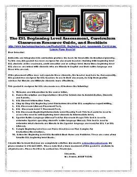 ESL Beginning Level Assessments, Curriculum, Lesson Plans, Booklist,