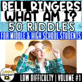 Bell Ringers   50 Easy Riddles Brain Teasers   For Teens   Vol.#1   EDITABLE