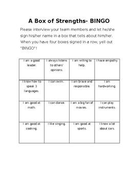 ESL Bingo Game - A box of strengths!