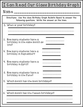 ESL Birthday Graph Bulletin Board Cupcake Printables and Worksheet