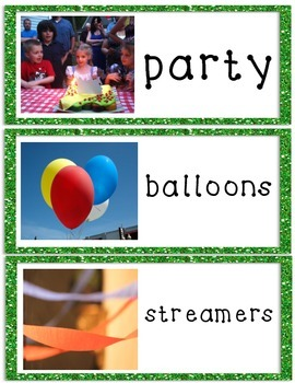 ESL Birthday Party Vocabulary Cards and Picture Dictionaries