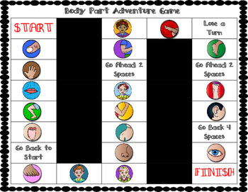 ESL Body Parts Vocabulary Board Game