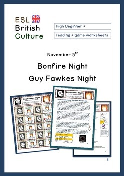 ESL Reading activity and game (British Culture) Bonfire Night on Nov 5th