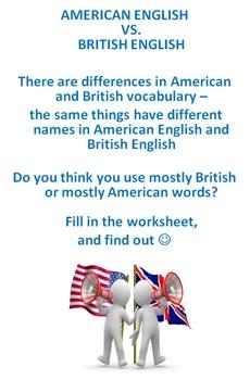 ESL British English vs American English Vocabulary Worksheet